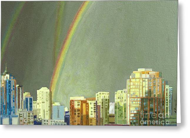 Vancouver Bc Greeting Card by Lynne Reichhart