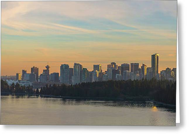 Vancouver Bc Skyline Along Stanley Park At Sunset Greeting Card