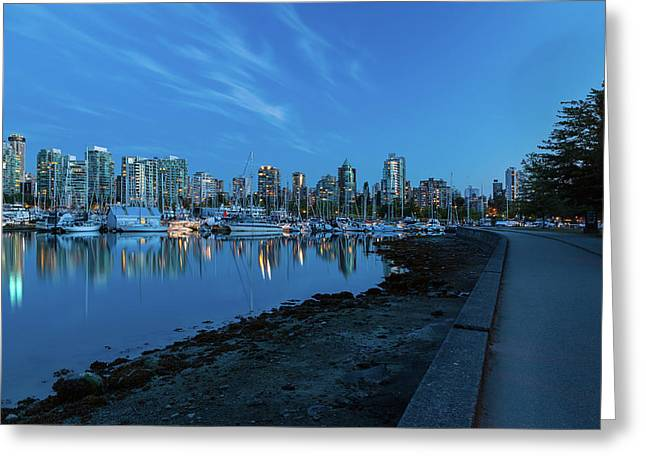 Vancouver Bc Skyline Along Stanley Park Seawall Greeting Card by David Gn