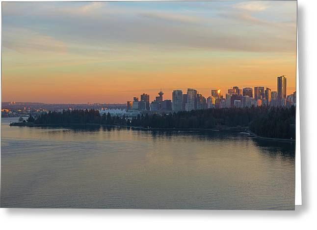Vancouver Bc Skyline And Stanley Park At Sunset Greeting Card