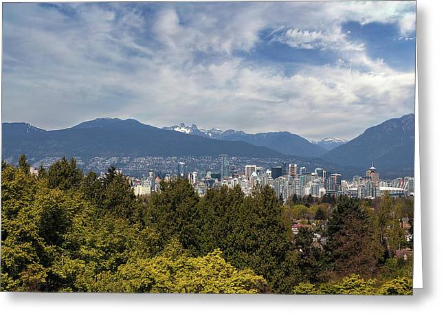 Vancouver Bc Skyline Daytime View Greeting Card by David Gn