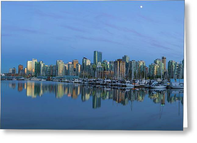 Vancouver Bc Skyline During Blue Hour Panorama Greeting Card by David Gn