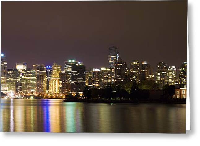 Vancouver By Night Greeting Card