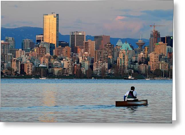 Vancouver Canoe Greeting Card by Pierre Leclerc Photography