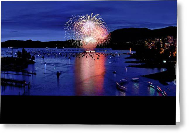 Vancouver Celebration Of Light Fireworks 2015 - Canada Greeting Card by Terry Elniski