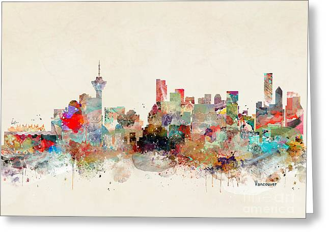 Greeting Card featuring the painting Vancouver City Skyline by Bri B