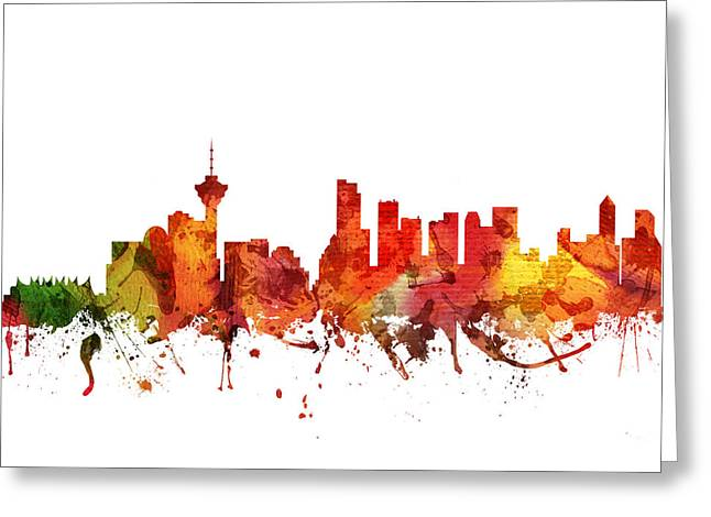 Vancouver Cityscape 04 Greeting Card by Aged Pixel