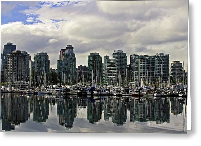 Vancouver Marina Greeting Card by Walter Fahmy