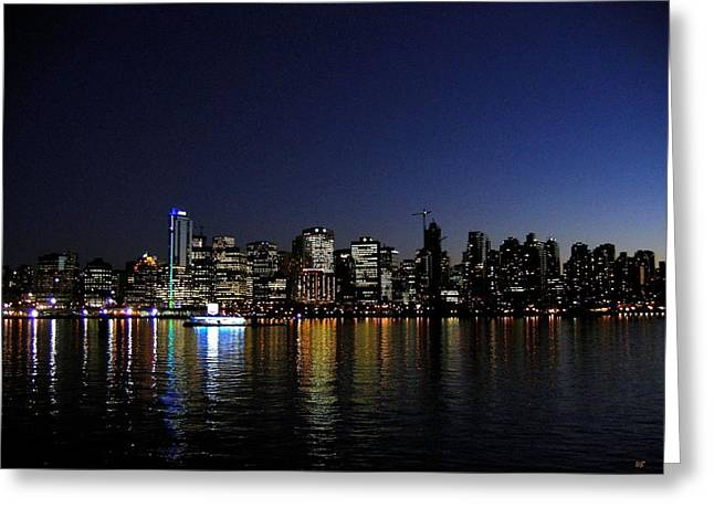 Vancouver Night Lights Greeting Card by Will Borden