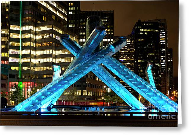 Vancouver Olympic Cauldron At Night Greeting Card