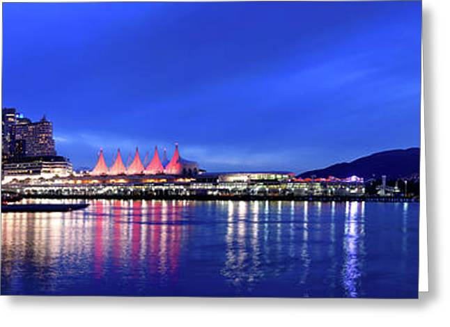 Vancouver Skyline From Crab Park At Dusk Greeting Card