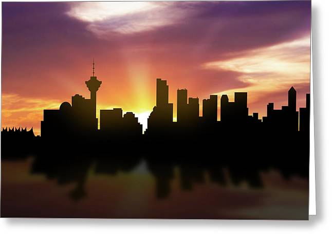 Vancouver Skyline Sunset Cabcva22 Greeting Card