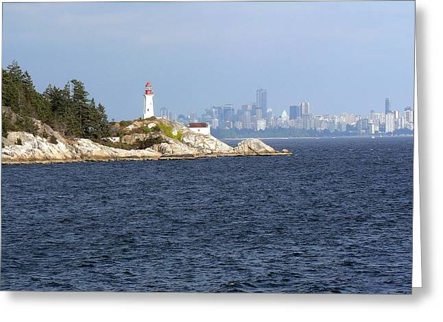 Vancouver Skyline With Lighthouse Greeting Card