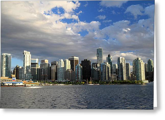 Vancouver Sunset From Stanley Park Greeting Card by Pierre Leclerc Photography