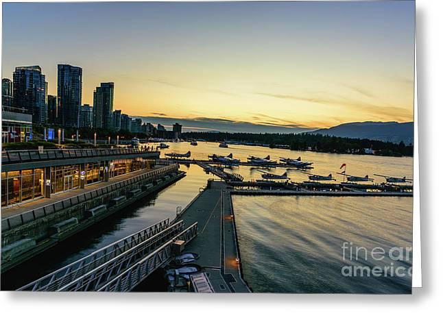 Vancouver Waterfront At Night Greeting Card by Viktor Birkus