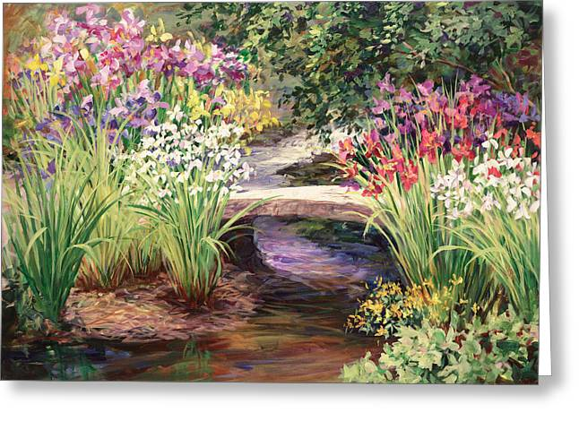 Vandusen Garden Iris Bridge Greeting Card by Laurie Hein