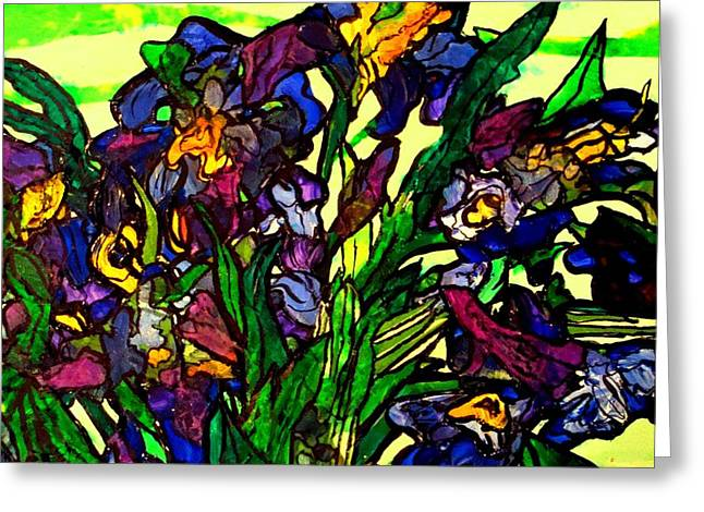 Greeting Card featuring the painting Vangogh Iris Montage In Focus by Laura  Grisham