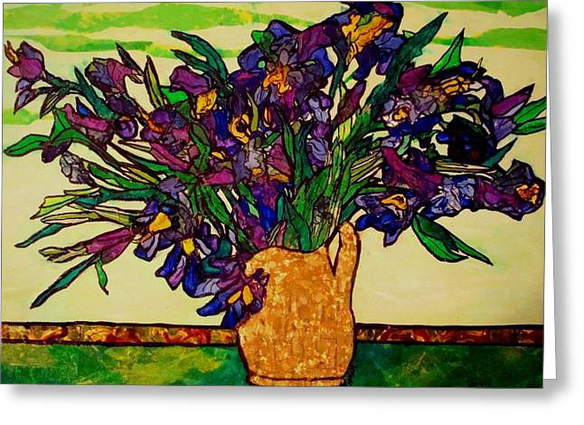 Greeting Card featuring the painting Vangogh Iris Montage by Laura  Grisham