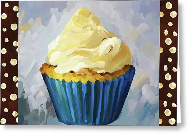 Reception Paintings Greeting Cards - Vanilla Cupcake With Border Greeting Card by Jai Johnson
