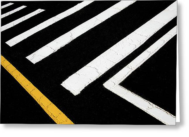 Greeting Card featuring the photograph Vanishing Traffic Lines With Colorful Edge by Gary Slawsky