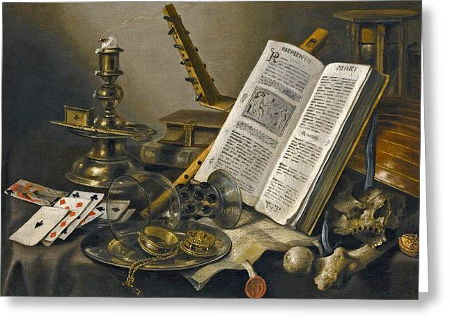 Vanitas Still Life With A Book A Glass Roemer A Skull A Lute A Pack Of Cards And Piece Of Parchment  Greeting Card