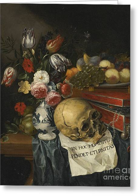 Vanitas Still Life With A Vase Of Flowers Greeting Card