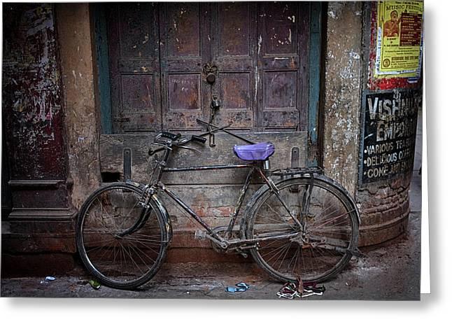 Varanasi Bicycle Greeting Card by David Longstreath