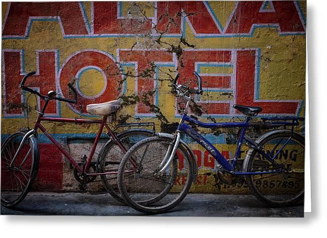 Varanasi Hotel Bicycles Greeting Card by David Longstreath