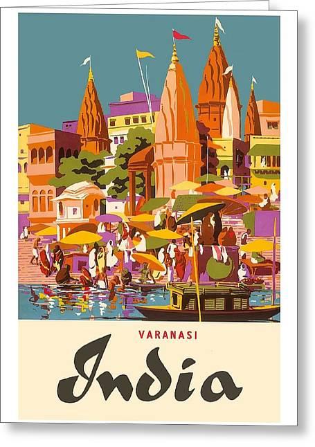 Varanasi India Vintage World Travel Poster By Charles Baskerville Greeting Card