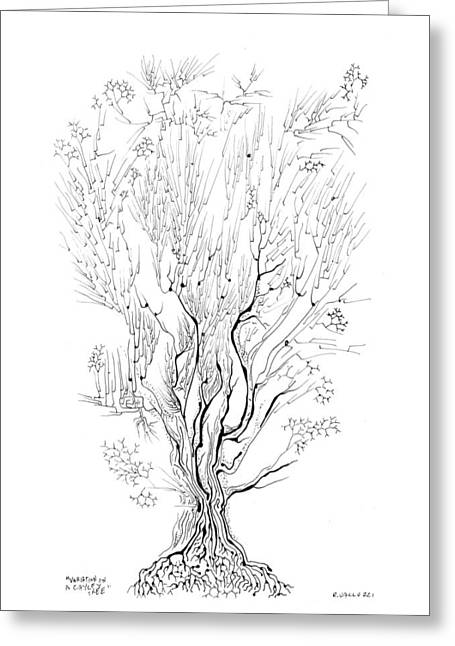 Variation On A Cayley Tree Greeting Card by Regina Valluzzi