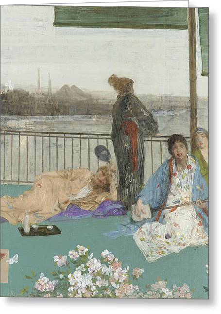 Variations In Flesh Colour And Green, The Balcony Greeting Card by James Abbott McNeill Whistler