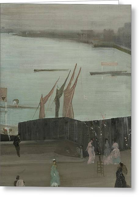 Variations In Pink And Grey - Chelsea Greeting Card by James Whistler