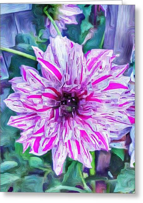 Variegated Dahlia In Oil Greeting Card by Jeffrey Canha