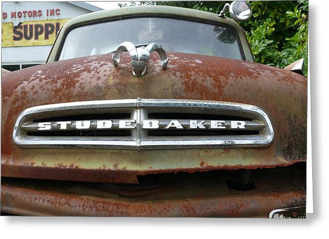 Greeting Card featuring the photograph Variegated Studebaker by Joel Deutsch
