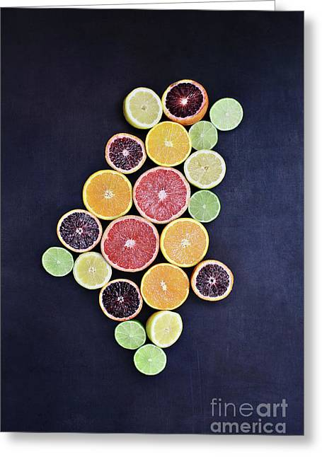 Greeting Card featuring the photograph Variety Of Citrus Fruits by Stephanie Frey