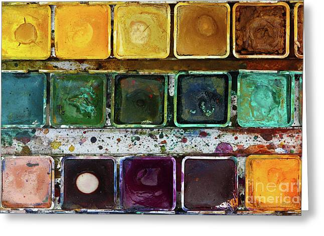 Various Watercolor Pigments In The Color-saucer Greeting Card by Michal Boubin