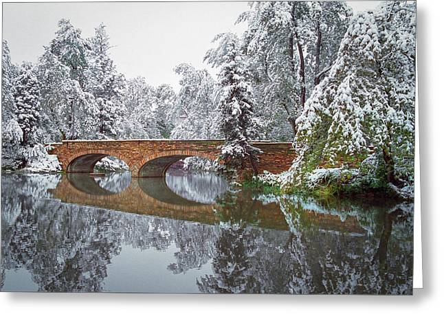 Varsity Pond Bridge Greeting Card by Lee Craker