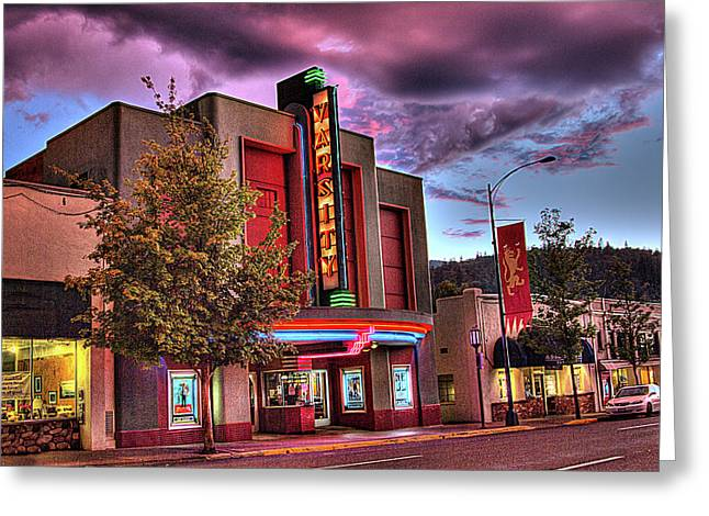 Varsity Theater Downtown Ashland Greeting Card by Chris Aschenbrener