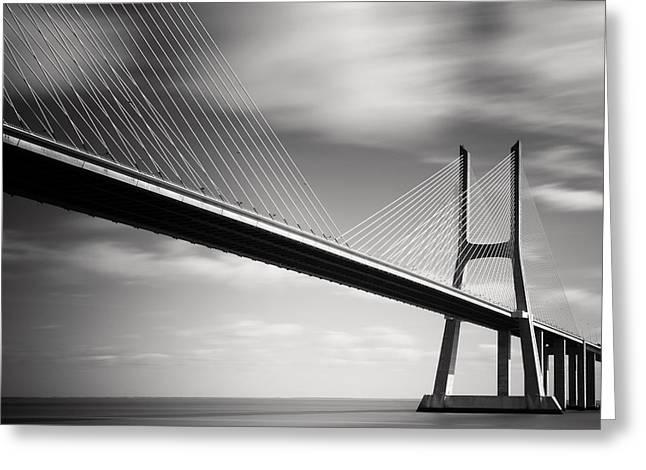 Lisbon Greeting Cards - Vasco da Gama Bridge II Greeting Card by Nina Papiorek