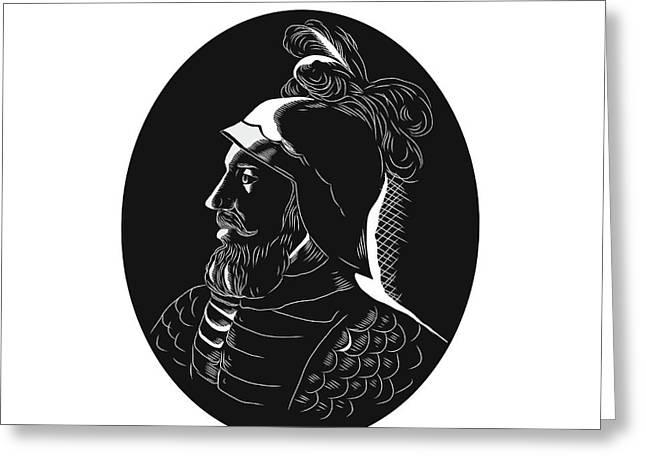 Vasco Nunez De Balboa Conquistador Woodcut Greeting Card by Aloysius Patrimonio