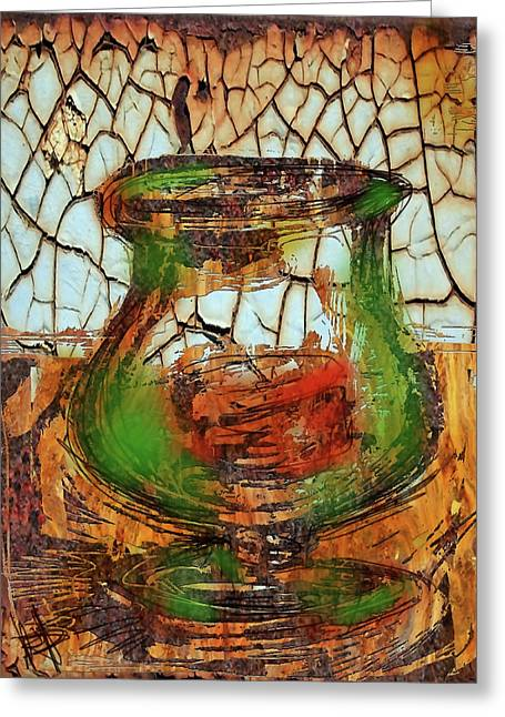 Glass Table Reflection Digital Art Greeting Cards - Vase and Candle Greeting Card by Russell Pierce