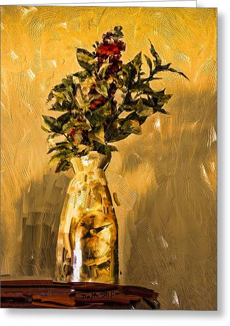 Greeting Card featuring the digital art Vase And Flowers by Dale Stillman