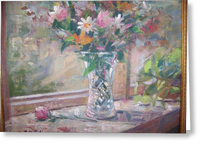 Vase And Flowers In Window Sill. Greeting Card
