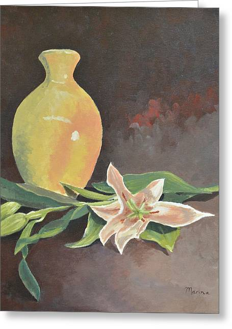 Vase And Orchids Greeting Card by Marina Garrison