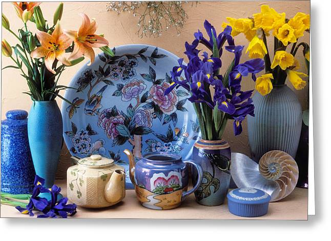 Tiger Lily Greeting Cards - Vase and plate still life Greeting Card by Garry Gay