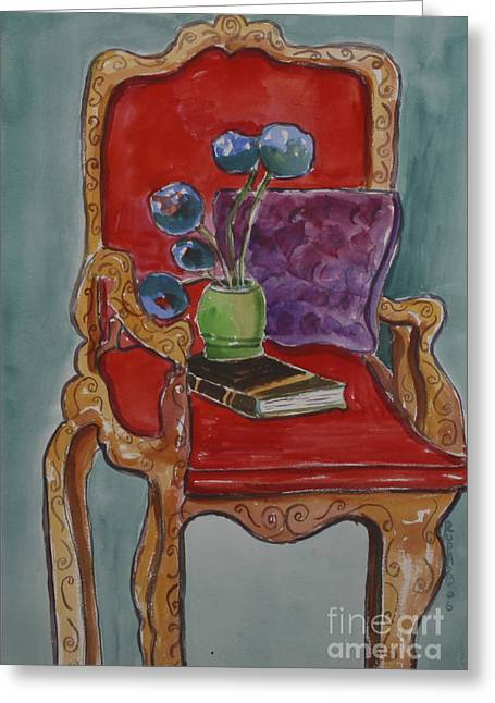 Vase Book And Chair Greeting Card