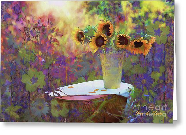 Greeting Card featuring the digital art Vase De Fleurs 2017 by Kathryn Strick