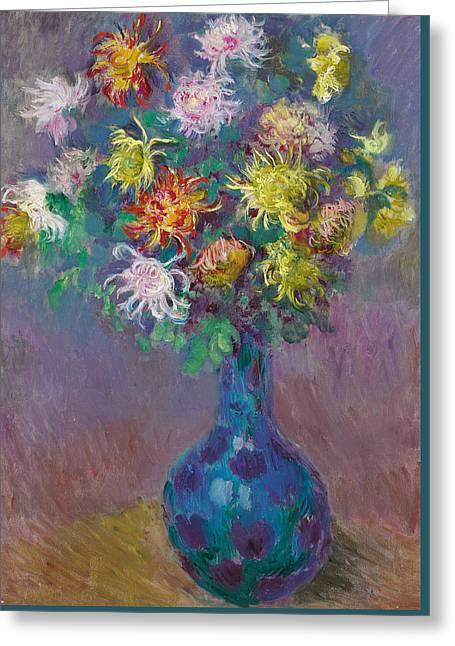 Vase Of Chrysanthemums Greeting Card by Claude Monet