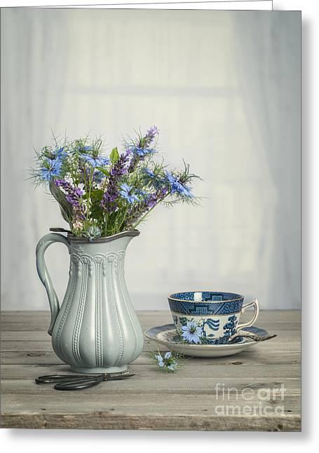 Vase Of Cornflowers Greeting Card by Amanda Elwell