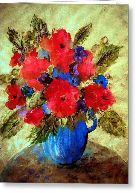 Vase Of Delight-still Life Painting By V.kelly Greeting Card